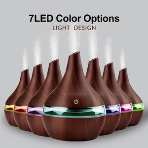 Electric Ultrasonic air aroma Essential Oil Diffuser humidifier (300ML - LED color options, USB charging - wood)