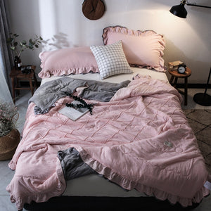 Solid Thin Summer Quilt Soft Comforter Blanket Duvet