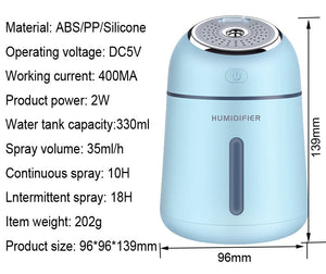 Electric ultrasonic air aroma essential oil diffuser humidifier (Night light + fan - USB charging)