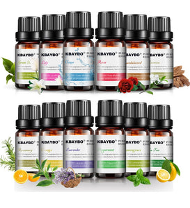 6 Essential Oils for Diffuser, Aromatherapy Oil Humidifier (Lavender, Tea Tree, Rosemary, Lemongrass, Orange)
