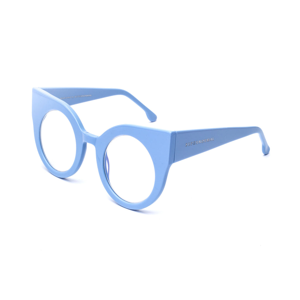 "Baby Blue Round Cat-Eye Computer Glasses ""CURIOUS"""