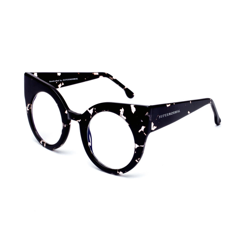 "Patterned Black Round Cat-Eye Eyewear ""CURIOUS"""