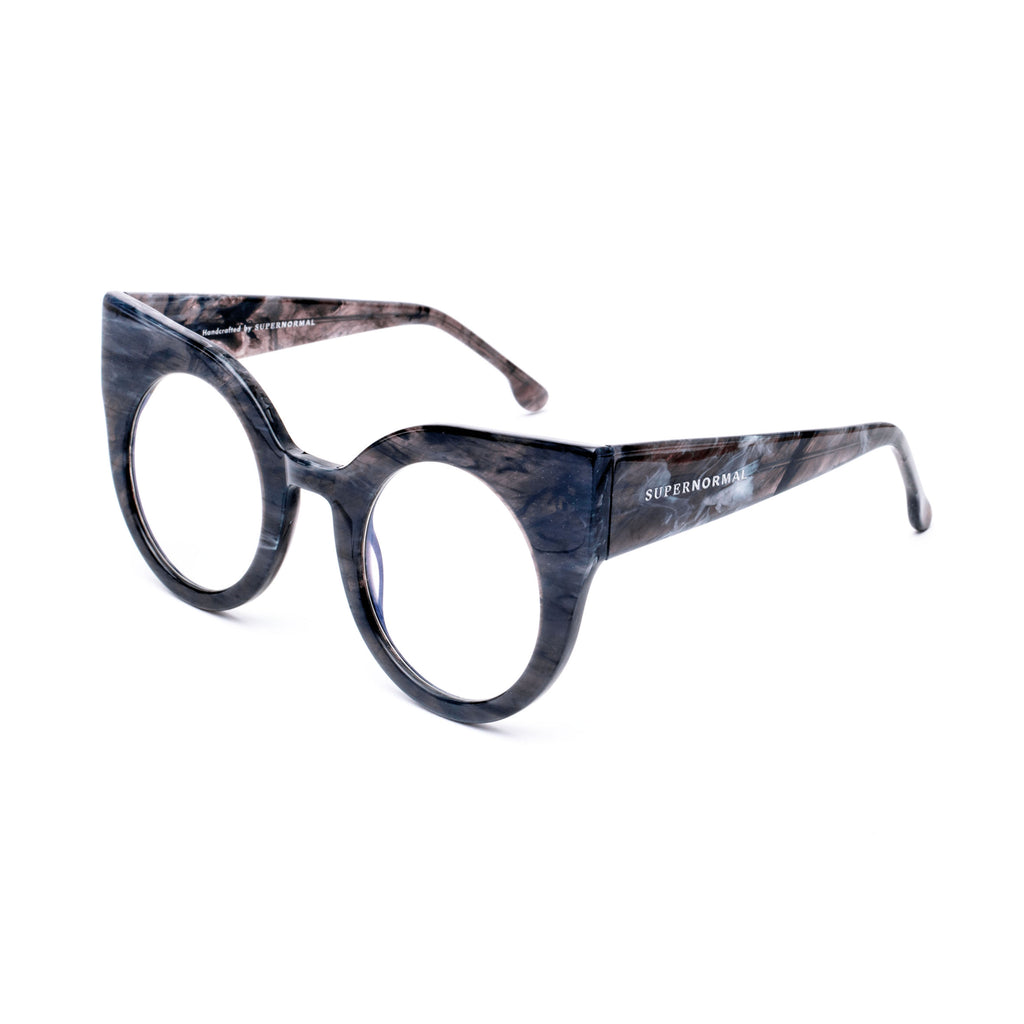 "Grey Round Cat-Eye Eyewear ""CURIOUS"""