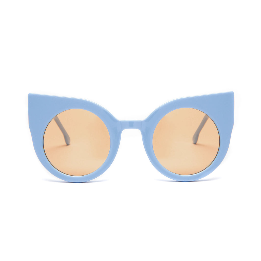"Baby Blue Round Cat-Eye Sunglasses ""CURIOUS"""