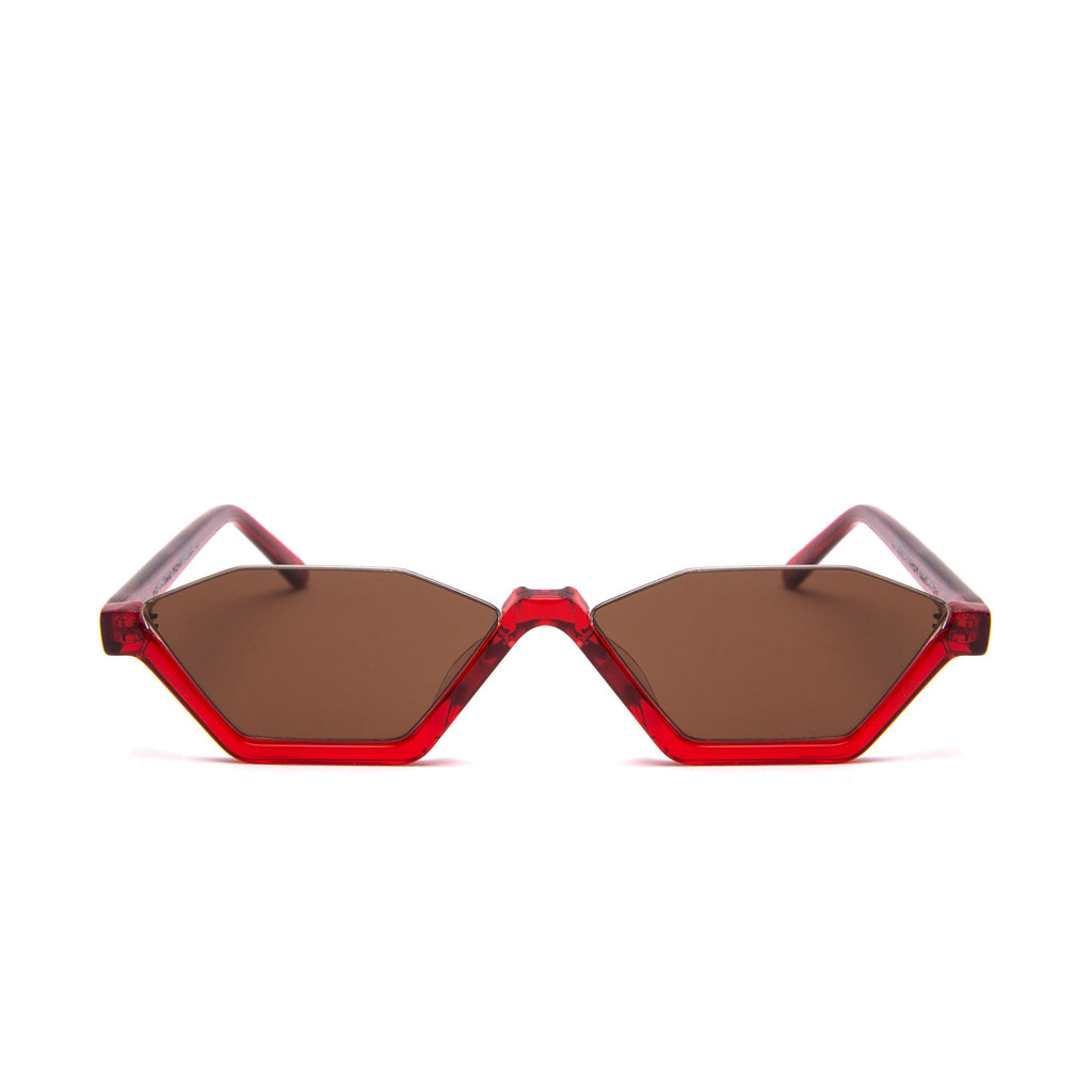 REBELLIOUS Red frame + Brown lenses