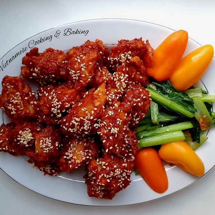 Korean crunchy & spicy chicken with Kim Chi - cooking class