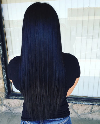 blue black hair extensions