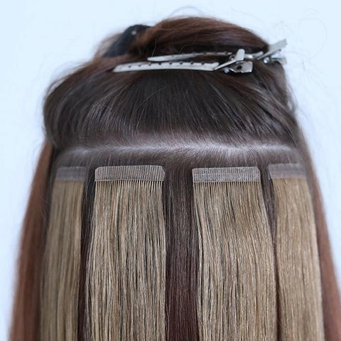 applying tape hair extensions