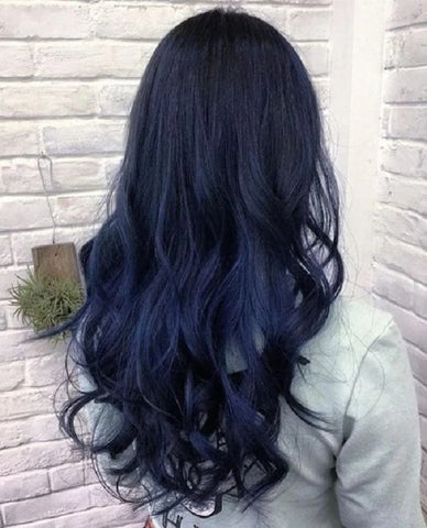 wavy blue black hair extensions