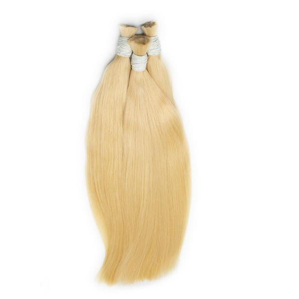 Bulk straight blonde color hair extension VS2