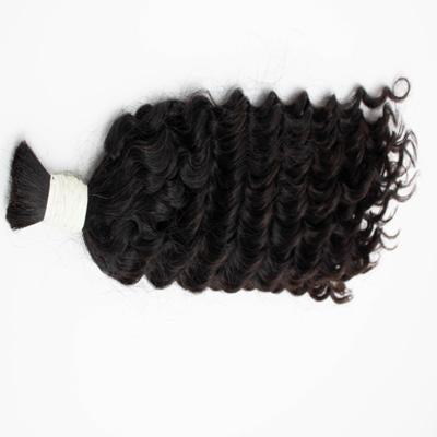 Bulk wavy black hair extensions VD2