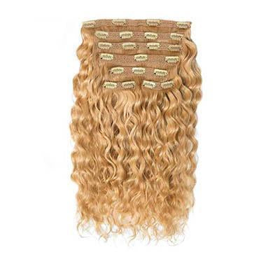 Clip in curly light brown hair extensions