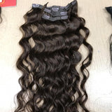 Clip in hair wavy dark brown color