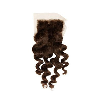 Lace closure wavy hair dark brown 4x4
