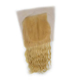 Lace closure wavy blonde color hair extension 4.5x5.5