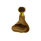 I tip roll bouncy wavy light brown hair extensions