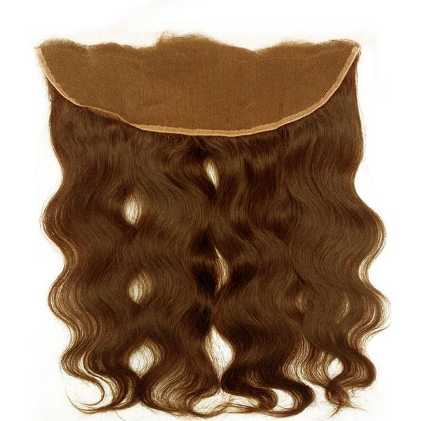 Lace frontal body wavy dark brown hair