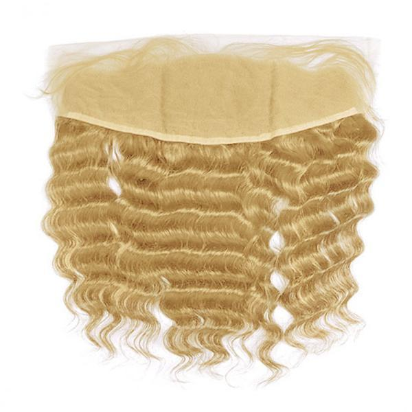 Lace frontal deep wavy blonde color #14, #16