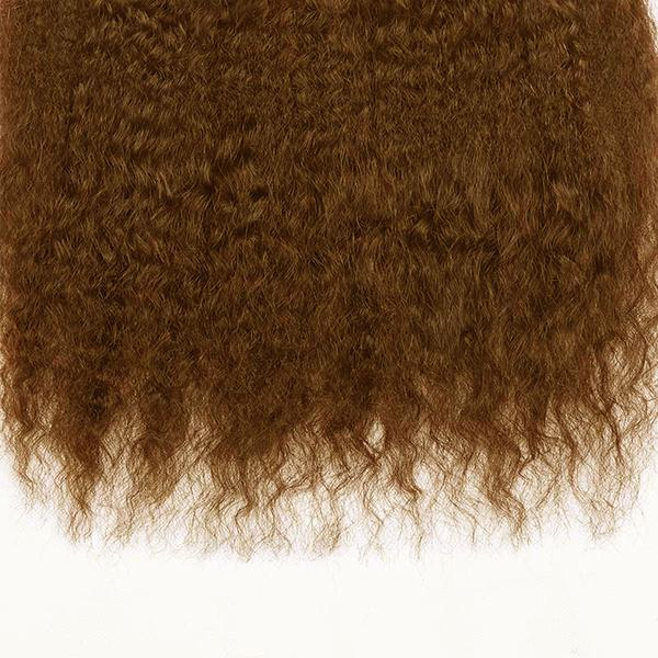 Lace frontal Kinky straight dark brown hair