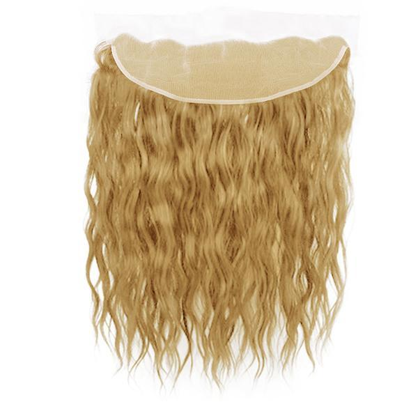 Lace frontal natural wavy blonde hair extensions