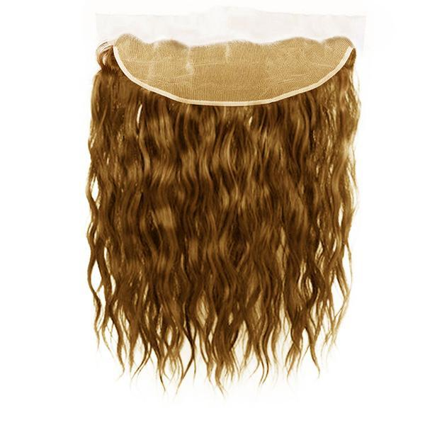 Lace frontal natural wavy light brown hair extensions