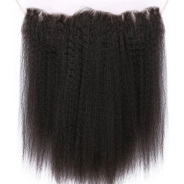 Lace frontal Yaki straight black hair