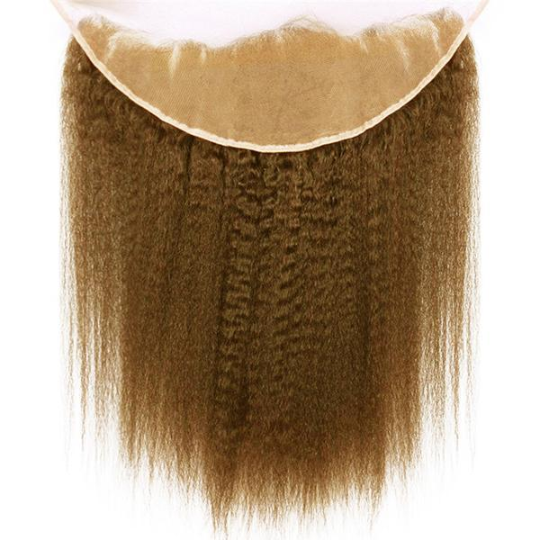 Lace frontal Yaki straight light brown hair extensions