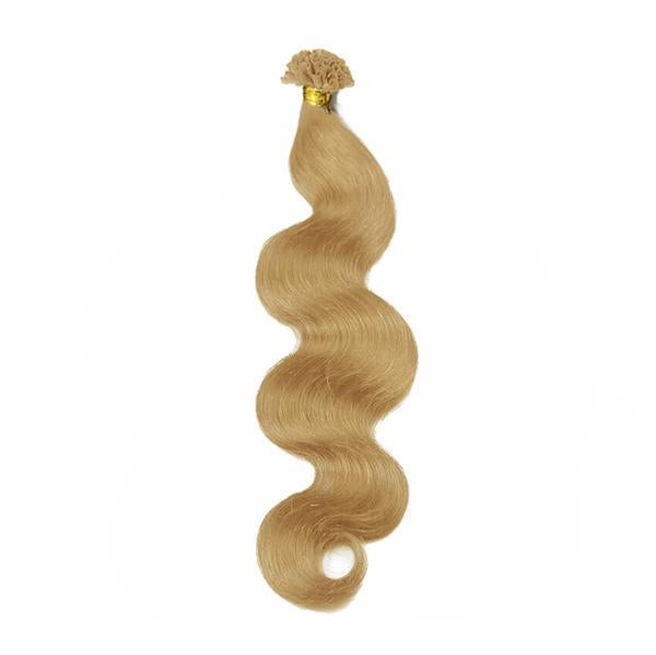 U tip water body wavy blonde hair extensions