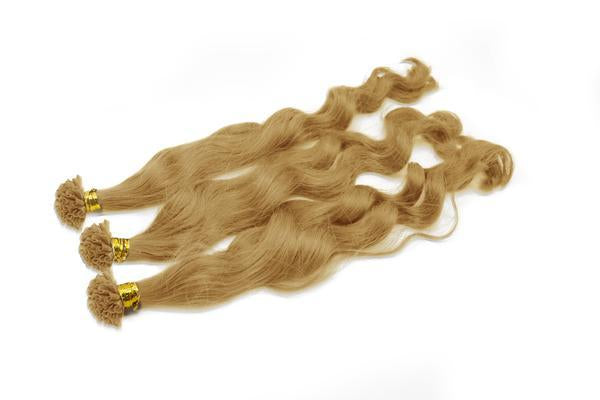U tip body wavy blonde hair extensions
