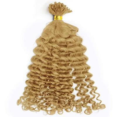 U tip loose curly blonde hair extensions