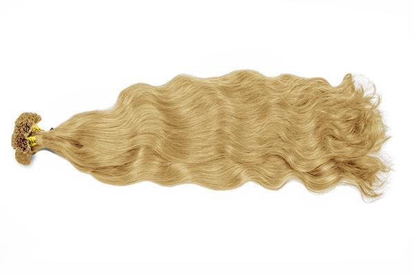 U tip natural wavy blonde color hair