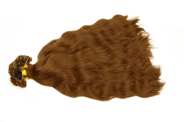U tip natural wavy light brown hair extensions
