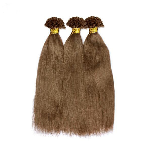 U tip yaki straight light brown hair extensions