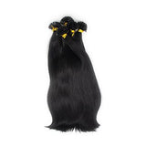U tip straight hair extensions black color