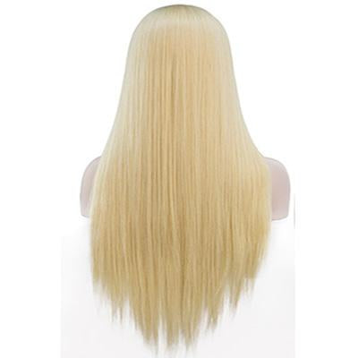Wig straight hair blonde color