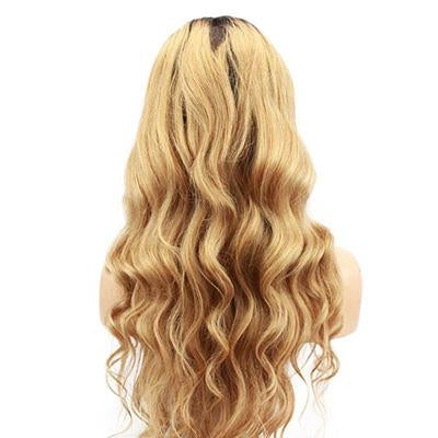 Wig wavy hair blonde color