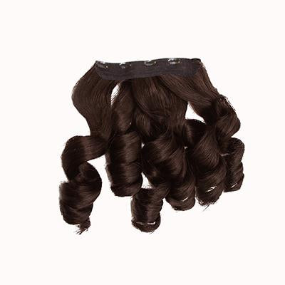 Clip in bouncy wavy dark brown hair
