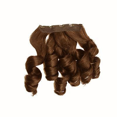 Clip in bouncy wavy light brown hair extensions