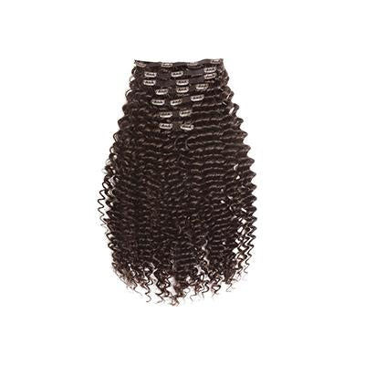 Clip in deep curly dark brown hair