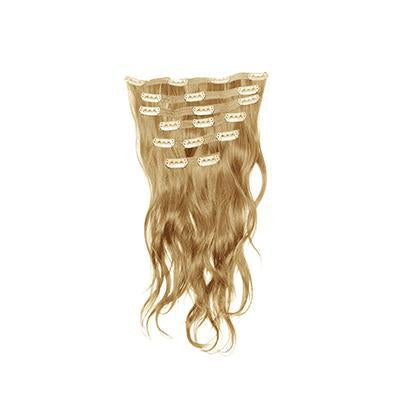 Clip in natural wavy blonde hair extensions