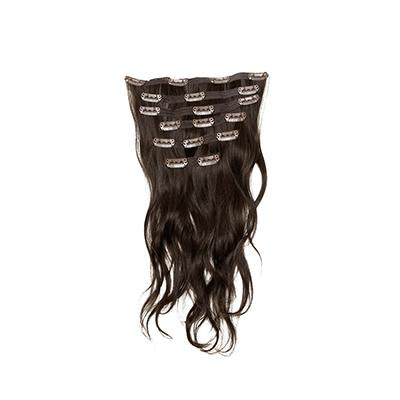 Clip in natural wavy dark brown hair