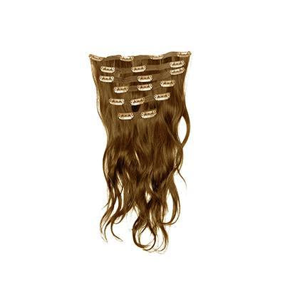 Clip in natural wavy light brown hair extensions
