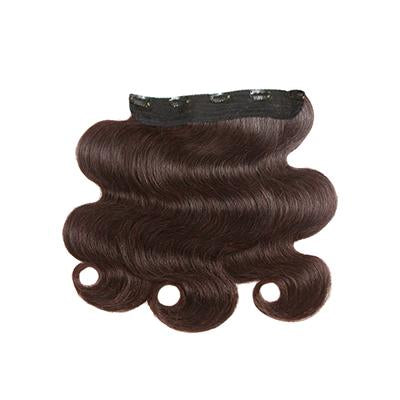 Clip in water body wavy dark brown hair