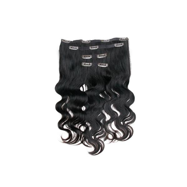 Clip in body wavy black hair