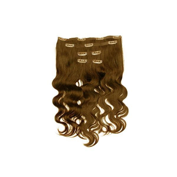 Clip in body wavy light brown hair extensions