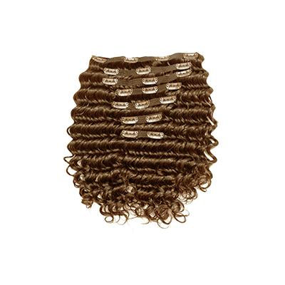 Clip in deep wavy light brown hair extensions