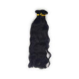 Flat tip wavy black hair extensions