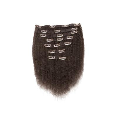 Clip in kinky straight dark brown hair
