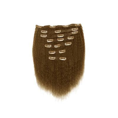 Clip in kinky straight light brown hair