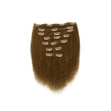 Clip in kinky straight light brown hair extensions